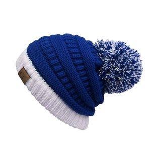 Royal and White Two Toned CC Beanie